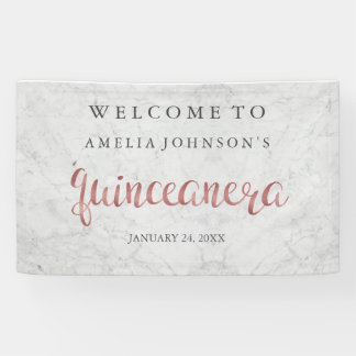 Quinceanera Banner Marble Rose Gold
