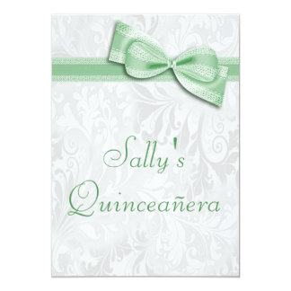 Quinceañera Birthday Party Damask and Faux Bow 13 Cm X 18 Cm Invitation Card