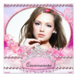 Quinceanera Birthday Party Pink White Floral Photo Custom Invitation