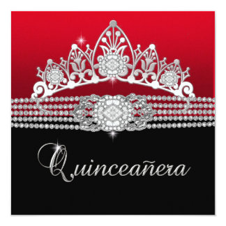 Quinceanera Birthday Party Red Diamond Black Card