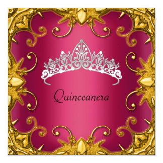Quinceanera Birthday Party Red Gold White Tiara Card