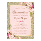 Quinceanera Birthday | Pink Floral Gold Glitters Card