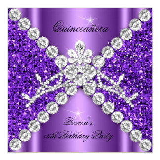 Quinceanera Birthday Purple Glitter Diamonds Tiara Card