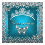 Quinceanera Birthday Teal Silver Tiara Butterfly Announcement