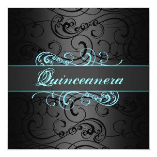 Quinceanera Blue & Black Swirl Birthday Invitation