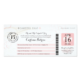 Quinceanera | Boarding Pass 10 Cm X 24 Cm Invitation Card