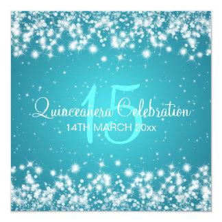Quinceañera Celebration Party Winter Sparkle Blue 13 Cm X 13 Cm Square Invitation Card