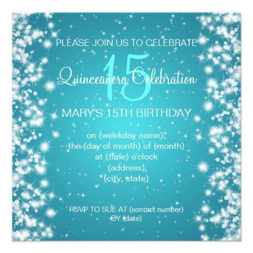 Quinceañera Celebration Party Winter Sparkle Blue Announcements