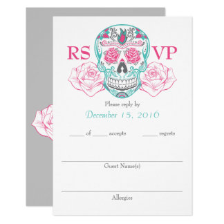 "Quinceañera Day of the Dead RSVP cards 3.5"" x 5"" 9 Cm X 13 Cm Invitation Card"