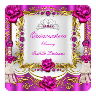 "Quinceanera Deep Pink Gold Rose Tassels Tiara 5.25"" Square Invitation Card"