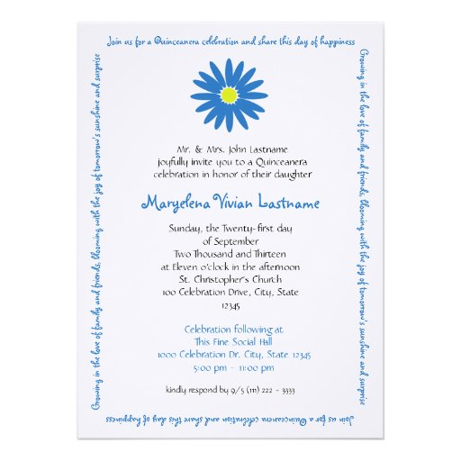 Quinceanera Delightful Daisy Message Text Blue Announcement