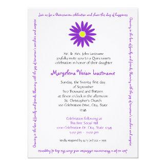 Quinceanera Delightful Daisy Message Text Purple 14 Cm X 19 Cm Invitation Card