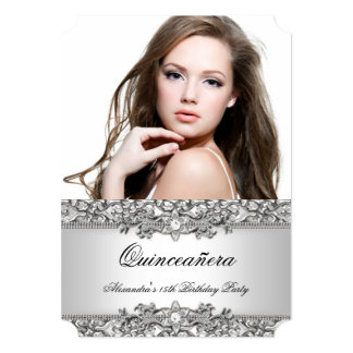Quinceanera Elegant Silver White Diamond Photo 2 Card