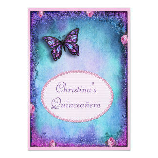 Quinceañera Faux Glitter, Butterfly, Roses & Lace 13 Cm X 18 Cm Invitation Card