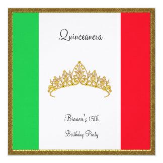 Quinceanera Invitation Mexico Flag Personalized Invitation