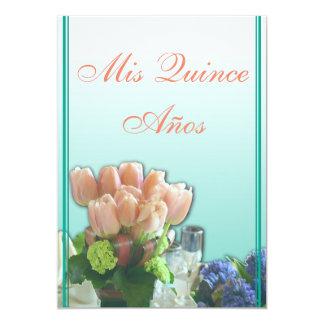 "Quinceanera Invitations in Spanish Color Text 5"" X 7"" Invitation Card"