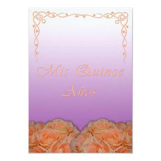 "Quinceanera Invitations in Spanish Violet 5"" X 7"" Invitation Card"
