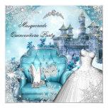 Quinceanera Masquerade Magical Princess Blue 13 Cm X 13 Cm Square Invitation Card