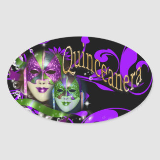 Quinceanera masquerade mask party oval stickers