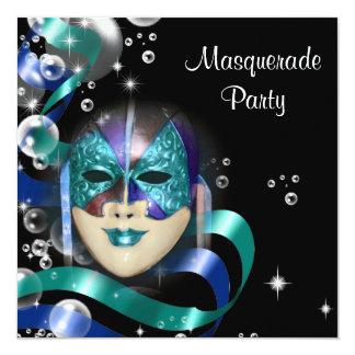 Quinceanera masquerade mask PERSONALIZE 5.25x5.25 Square Paper Invitation Card