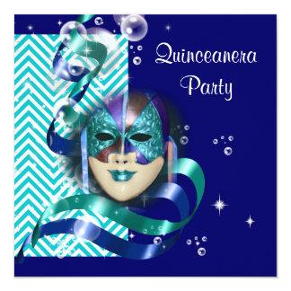 Quinceanera masquerade mask PERSONALIZE 13 Cm X 13 Cm Square Invitation Card