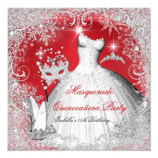Quinceanera Masquerade Red White Snowflakes 5.25x5.25 Square Paper Invitation Card