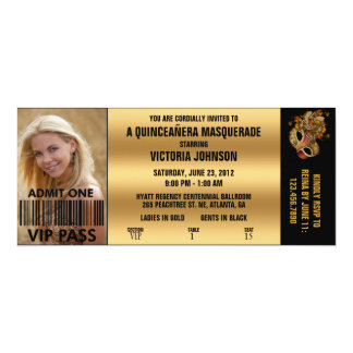 Quinceañera Masquerade VIP Admission Ticket Card