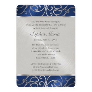 Quinceanera Navy Blue and Silver Filigree Swirls 13 Cm X 18 Cm Invitation Card