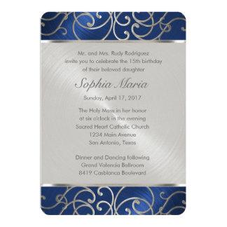 Quinceanera Navy Blue and Silver Filigree Swirls 13 Cm X 18 Cm Invitation Card