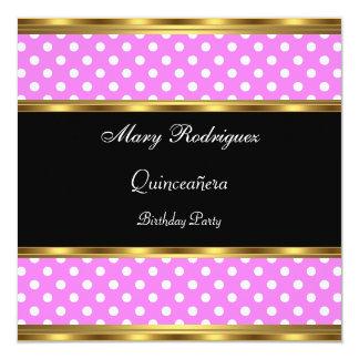 Quinceañera Party Pink Polka dots Card