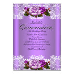 Quinceanera Party Purple Pink Roses White Lace Personalised Announcement