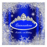 Quinceanera Party Royal Blue Silver Snowflakes Custom Invitations