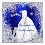 Quinceanera Party Royal Blue Silver Snowflakes Personalised Announcements