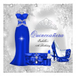 Quinceanera Party Royal Blue Silver Snowflakes S Personalized Announcement