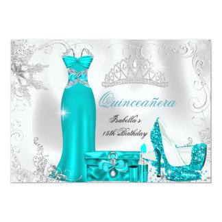 Quinceanera Party Teal Blue Silver Snowflakes 3 Card