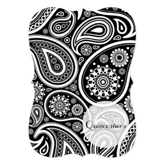 Quinceanera - Persian Paisley, Dots - Black White Card