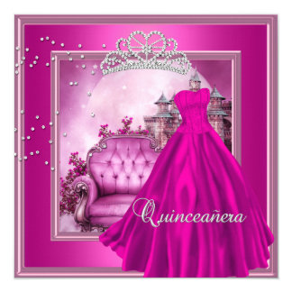 Quinceanera Pink 15th Birthday Party Magical Card