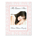 Quinceanera Pink Damask Soft Pink and White Personalized Invitation