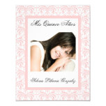 Quinceanera Pink Damask Soft Pink and White 11 Cm X 14 Cm Invitation Card
