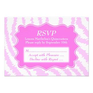 Quinceanera Pink Zebra Print Pattern Invitations