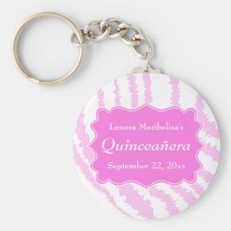 Quinceanera Pink Zebra Print Pattern Key Ring