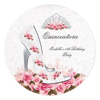 "Quinceanera Pretty Princess Pink Roses Shoe 2R 5.25"" Square Invitation Card"