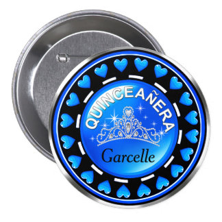 Quinceanera Princess Tiara Love Hearts   blue 7.5 Cm Round Badge