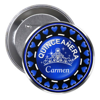 Quinceanera Princess Tiara Love Hearts   cobalt 7.5 Cm Round Badge