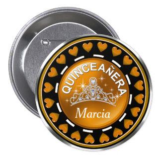 Quinceanera Princess Tiara Love Hearts   golden 7.5 Cm Round Badge