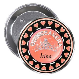 Quinceanera Princess Tiara Love Hearts   peach 7.5 Cm Round Badge