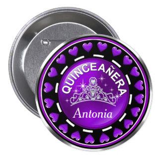 Quinceanera Princess Tiara Love Hearts purple Pinback Button