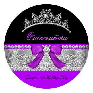 Quinceanera Purple Diamond Lace Birthday Party 2 Personalized Invites