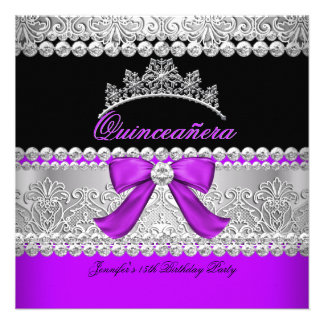 Quinceanera Purple Diamond Lace Birthday Party Custom Invite