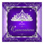 Quinceanera Purple Lavender Silver Diamond Tiara 13 Cm X 13 Cm Square Invitation Card
